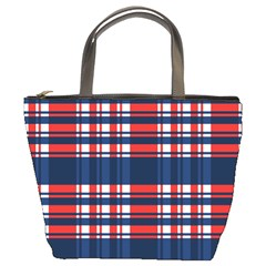 Plaid Red White Blue Bucket Bags by Alisyart