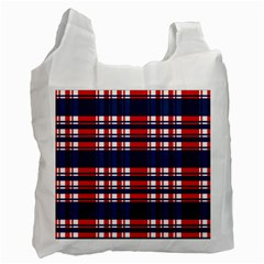 Plaid Red White Blue Recycle Bag (one Side) by Alisyart