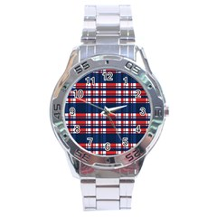 Plaid Red White Blue Stainless Steel Analogue Watch by Alisyart