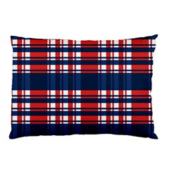 Plaid Red White Blue Pillow Case (two Sides) by Alisyart