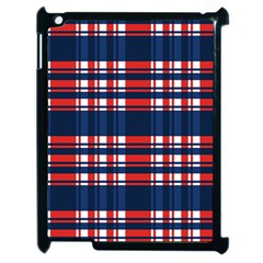Plaid Red White Blue Apple Ipad 2 Case (black)