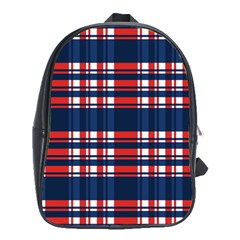 Plaid Red White Blue School Bags (xl)  by Alisyart