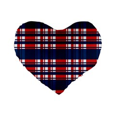 Plaid Red White Blue Standard 16  Premium Heart Shape Cushions by Alisyart