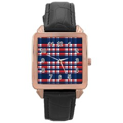 Plaid Red White Blue Rose Gold Leather Watch  by Alisyart