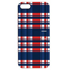 Plaid Red White Blue Apple Iphone 5 Hardshell Case With Stand by Alisyart