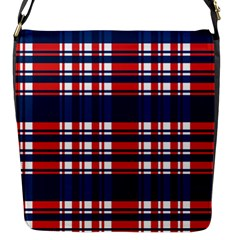 Plaid Red White Blue Flap Messenger Bag (s) by Alisyart