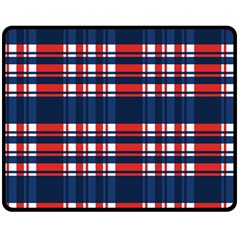 Plaid Red White Blue Double Sided Fleece Blanket (medium)  by Alisyart
