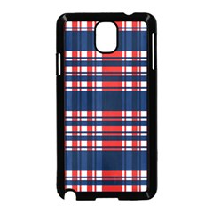 Plaid Red White Blue Samsung Galaxy Note 3 Neo Hardshell Case (black) by Alisyart