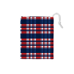Plaid Red White Blue Drawstring Pouches (small)