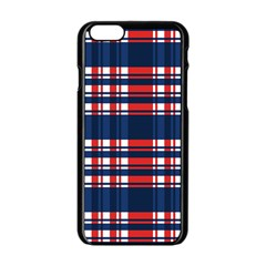 Plaid Red White Blue Apple Iphone 6/6s Black Enamel Case by Alisyart