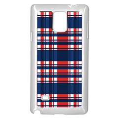 Plaid Red White Blue Samsung Galaxy Note 4 Case (white) by Alisyart