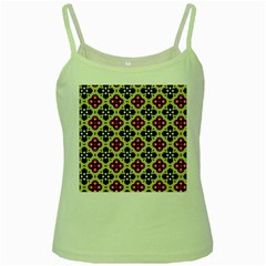 Seamless Floral Flower Star Red Black Grey Green Spaghetti Tank
