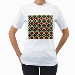Seamless Floral Flower Star Red Black Grey Women s T Shirt (white) (two Sided)