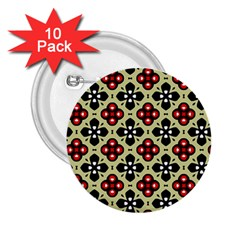 Seamless Floral Flower Star Red Black Grey 2 25  Buttons (10 Pack)