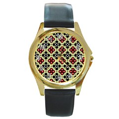 Seamless Floral Flower Star Red Black Grey Round Gold Metal Watch by Alisyart