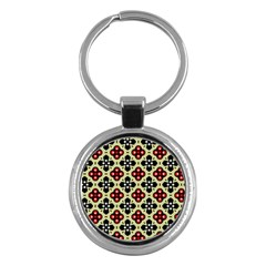 Seamless Floral Flower Star Red Black Grey Key Chains (round)  by Alisyart