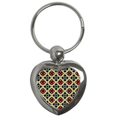 Seamless Floral Flower Star Red Black Grey Key Chains (heart)  by Alisyart