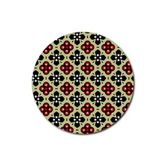 Seamless Floral Flower Star Red Black Grey Rubber Round Coaster (4 Pack)