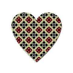 Seamless Floral Flower Star Red Black Grey Heart Magnet by Alisyart