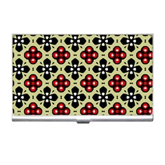 Seamless Floral Flower Star Red Black Grey Business Card Holders