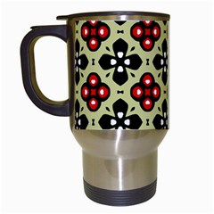 Seamless Floral Flower Star Red Black Grey Travel Mugs (white)