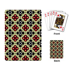 Seamless Floral Flower Star Red Black Grey Playing Card by Alisyart