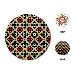 Seamless Floral Flower Star Red Black Grey Playing Cards (round)
