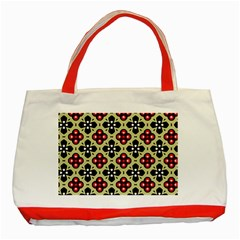 Seamless Floral Flower Star Red Black Grey Classic Tote Bag (red)