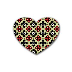 Seamless Floral Flower Star Red Black Grey Heart Coaster (4 Pack)