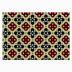 Seamless Floral Flower Star Red Black Grey Large Glasses Cloth (2-side) by Alisyart