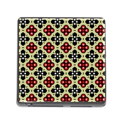 Seamless Floral Flower Star Red Black Grey Memory Card Reader (square) by Alisyart