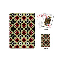 Seamless Floral Flower Star Red Black Grey Playing Cards (mini)  by Alisyart