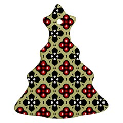 Seamless Floral Flower Star Red Black Grey Christmas Tree Ornament (two Sides) by Alisyart