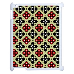 Seamless Floral Flower Star Red Black Grey Apple Ipad 2 Case (white)