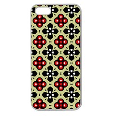 Seamless Floral Flower Star Red Black Grey Apple Seamless Iphone 5 Case (clear) by Alisyart