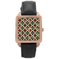 Seamless Floral Flower Star Red Black Grey Rose Gold Leather Watch