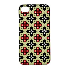 Seamless Floral Flower Star Red Black Grey Apple Iphone 4/4s Hardshell Case With Stand by Alisyart