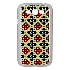 Seamless Floral Flower Star Red Black Grey Samsung Galaxy Grand Duos I9082 Case (white)