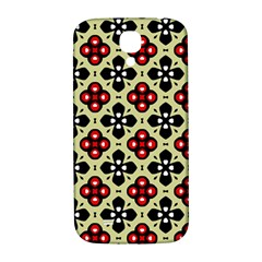 Seamless Floral Flower Star Red Black Grey Samsung Galaxy S4 I9500/i9505  Hardshell Back Case by Alisyart
