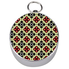 Seamless Floral Flower Star Red Black Grey Silver Compasses by Alisyart