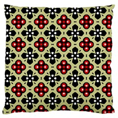 Seamless Floral Flower Star Red Black Grey Large Flano Cushion Case (one Side) by Alisyart