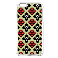 Seamless Floral Flower Star Red Black Grey Apple Iphone 6 Plus/6s Plus Enamel White Case by Alisyart