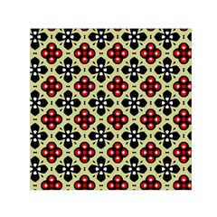 Seamless Floral Flower Star Red Black Grey Small Satin Scarf (square)