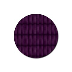 Plaid Purple Rubber Coaster (round)  by Alisyart
