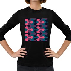 Symmetry Celtic Knots Contemporary Fabric Puzzel Women s Long Sleeve Dark T-shirts by Alisyart