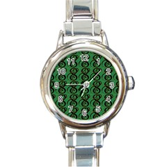 Abstract Pattern Graphic Lines Round Italian Charm Watch by Amaryn4rt