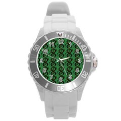 Abstract Pattern Graphic Lines Round Plastic Sport Watch (l) by Amaryn4rt