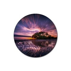 Landscape Reflection Waves Ripples Rubber Coaster (round)  by Amaryn4rt