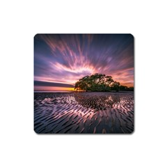 Landscape Reflection Waves Ripples Square Magnet by Amaryn4rt