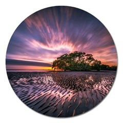 Landscape Reflection Waves Ripples Magnet 5  (round) by Amaryn4rt